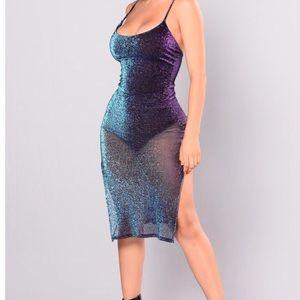 NWT - fashion nova multi color sheer dress